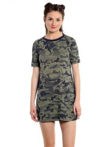 Cult Fiction Comfort Fit 100 Percent Cotton Fabric L-olive Round Neck Dress For Women-cfg40lol2020