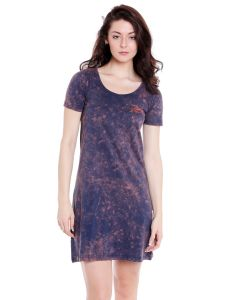 Cult Fiction Scoop Neck Navy Blue Graphic Print Cotton Dress For Women(code-cfg40ny2068)