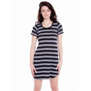 Cult Fiction Regular Fit Cotton Fabric Black Scoop Neck Dress For Women(code-cfg40strp2056)
