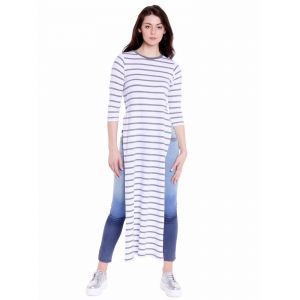 Cult Fiction Regular Fit Cotton Fabric White Melange Round Neck Long Tee For Women(code-cfg40strp2119)