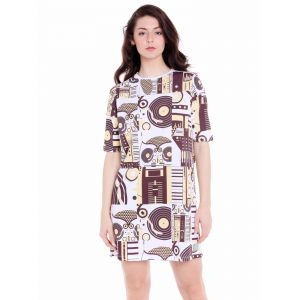 Cult Fiction Loose Fit Cotton Fabric White Round Neck Dress For Women(code-cfg40wh2035)