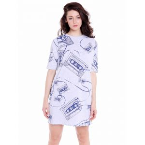 Cult Fiction Loose Fit Cotton-viscose Fabric White & Blue Round Neck Dress For Women(code-cfg40whm2038)
