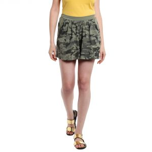 Cult Fiction Mid Rise Cotton Fabric Comfort Fit Light Olive Color Flared Mini Skirt For Women-(code-cfg50lol1020)