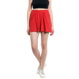 Cult Fiction Mid Rise Cotton Fabric Comfort Fit Red Color Flared Mini Skirt For Women-(code-cfg50r1024)