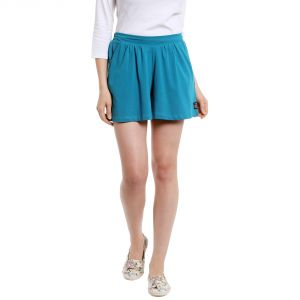 Cult Fiction Mid Rise Cotton Fabric Comfort Fit Turquoise Blue Color Flared Mini Skirt For Women-(Code-CFG50TB1024)