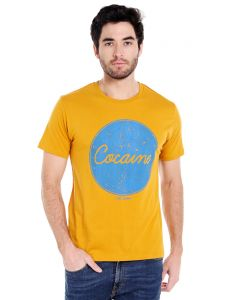 Cult Fiction Round Neck Yellow Color Half Sleeve Cotton T-shirt For Men