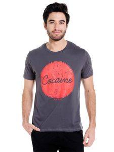 Cult Fiction Round Neck Charcoal Graphic Print Cotton T-shirt For Men(code-cfm01chr011)