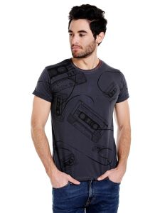 Cult Fiction Round Neck Charcoal Graphic Print Cotton T-shirt For Men(code-cfm01chr2077)