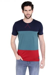 Cult Fiction Comfort Fit Round Neck Dark Navy Color Half Sleeves T-shirt For Men-cfm01dn1031