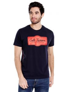 Cult Fiction Round Neck Dark Navy Half Sleeve Cotton T-shirt For Men(code -cfm01dn384)