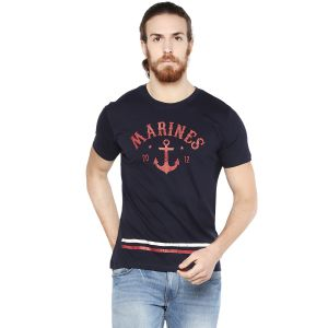Cult Fiction Navy Blue Color Round Neck Comfort Fit Cotton T-shirt For Men