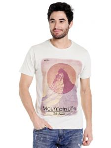 Cult Fiction Round Neck Ivory Half Sleeve Cotton T-shirt For Men(code -cfm01ivy142)