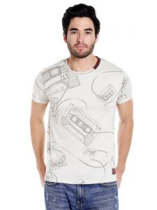 Cult Fiction Round Neck Ivory Half Sleeve Cotton T-shirt For Men(code -cfm01ivy2077)