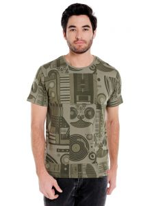 Cult Fiction Round Neck Green Color Half Sleeve Cotton T-shirt For Men