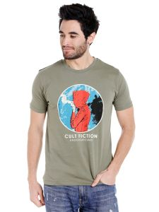 Cult Fiction Round Neck Light Olive Graphic Print Cotton T-shirt For Men(code-cfm01lol2107)