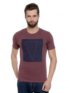 Cult Fiction New Wine Color Round Neck Comfort Fit Cotton T-shirt For Men