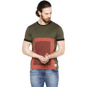 Cult Fiction Olive Color Comfort Fit Cotton Tshirt For Men