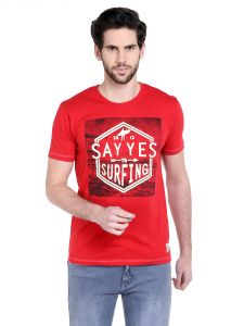 Cult Fiction Comfort Fit Round Neck Red Color Half Sleeves T-shirt For Men-cfm01r1029