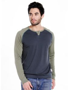 Cult Fiction Henley Neck Charcoal Solid Cotton T-shirt For Men(code-cfm03chr2067)