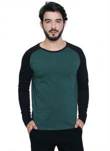 Cult Fiction Round Neck Dark Green Cotton Fabric Raglan Sleeve T-shirt For Men
