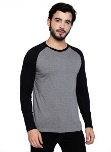 Cult Fiction Round Neck Grey & Black Cotton Viscose Blend Fabric Raglan Sleeve T-shirt For Men