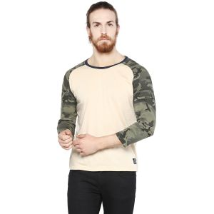 Cult Fiction Light Beige Color Round Neck 3/4th Sleeves Men
