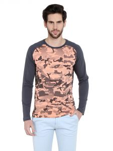 Cult Fiction Comfort Fit Round Neck Light Peach Color Full Sleeves T-shirt For Men-cfm03lpc8580