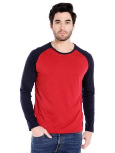 Cult Fiction Round Neck Maroon Color Full Sleeve Cotton T-shirt For Men