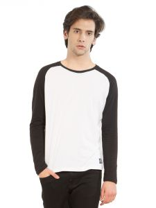 Cult Fiction Round Neck White And Black Cotton Fabric Raglan Sleeve T-shirt For Men