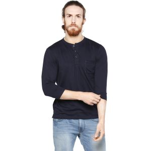 Cult Fiction Dark Navy Color Henley Neck 3/4th Sleeves Men