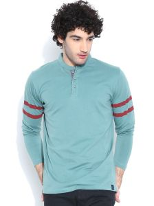 Cult Fiction Comfort Fit Full Sleeves Light Blue T-shirt For Men-cfm04lb828