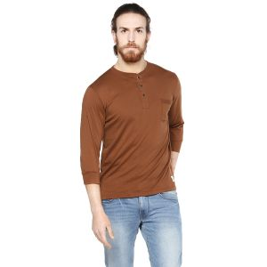 Cult Fiction Neo Brown Color Henley Neck 3/4th Sleeves Men