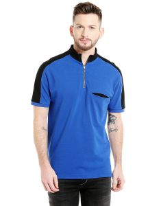 Cult Fiction Mandarin Collar Royal Blue Solid 100% Cotton Pique Fabric T-shirt For Men(code-cfm04rb2075)