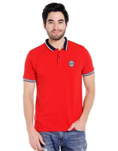 Cult Fiction Polo Neck Red Embroidered 100% Cotton Pique Fabric T-shirt For Men(code-cfm07r2087)