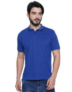 Cult Fiction Polo Neck Royal Blue Embroidered 100% Cotton Pique Fabric T-shirt For Men(code-cfm07rb2089)
