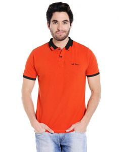Cult Fiction Polo Neck Rust Embroidered 100% Cotton Pique Fabric T-shirt For Men(code-cfm07rst2089)