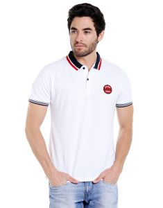 Cult Fiction Polo Neck White Embroidered 100% Cotton Pique Fabric T-shirt For Men(code-cfm07wh2087)