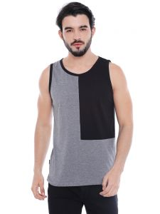 Cult Fiction Grey Melange Cotton Viscose Blend Sleeveless T-shirt For Men