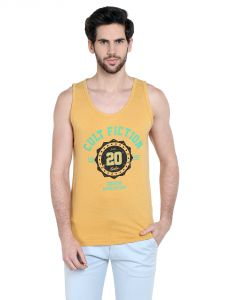 Cult Fiction Comfort Fit Round Neck Awker Marl Color Sleeveless T-shirt For Men-cfm10awm1032