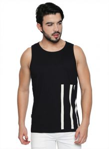 Cult Fiction Round Neck Black Cotton Fabric Sleeveless T-shirt For Men