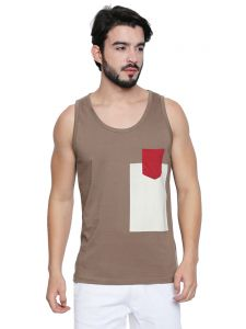 Cult Fiction Brown Cotton Fabric Sleeveless T-shirt For Men