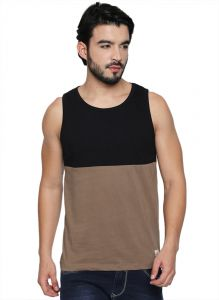 Cult Fiction Round Neck Black & Brown Cotton Fabric Sleeveless T-shirt For Men