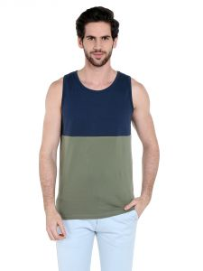 Cult Fiction Comfort Fit Round Neck Dark Blue Color Sleeveless T-shirt For Men-cfm10db960