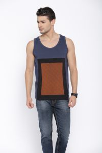 Cult Fiction Dark Blue Color Round Neck Regular Fit Sleeveless Cotton Tshirt For Mens