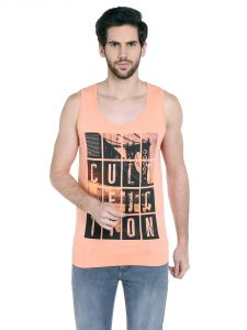 Cult Fiction Comfort Fit Round Neck Light Peach Color Sleeveless T-shirt For Men-cfm10lpc1038