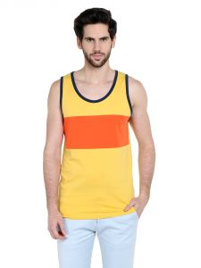 Cult Fiction Comfort Fit Round Neck Medium Yellow Color Sleeveless T-shirt For Men-cfm10my961