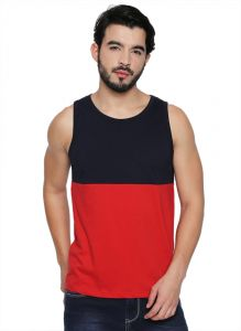 Cult Fiction Round Neck Navy & Red Cotton Fabric Sleeveless T-shirt For Men