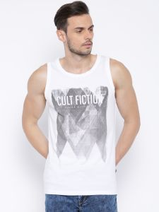 "Cult Fiction White Color Sleevless Men""s T-shirt"