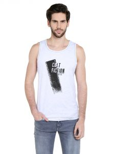 Cult Fiction Comfort Fit Round Neck White Marl Color Sleeveless T-shirt For Men-cfm10whm934