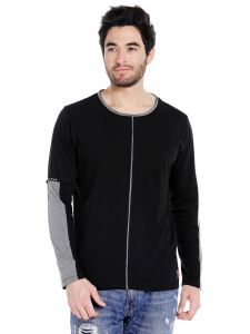 Cult Fiction Round Neck Black Full Sleeve Cotton T-shirt For Men(code -cfm30bl2055)